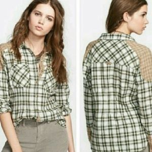 "Free People plaid ""catch up with me"" flannel top S"